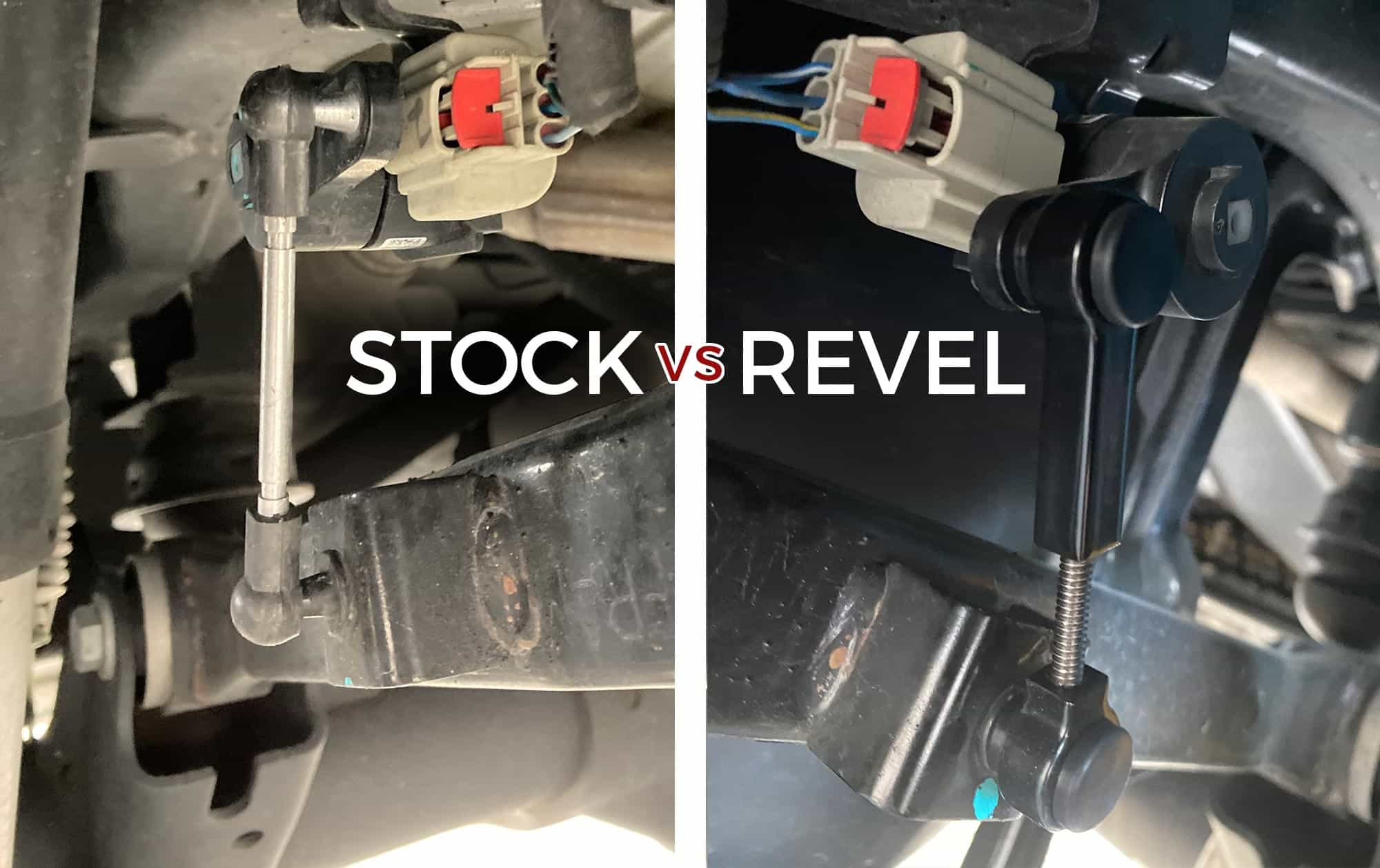 Stock air suspension link for Ram 1500 compared to a revel adjustable air suspension link